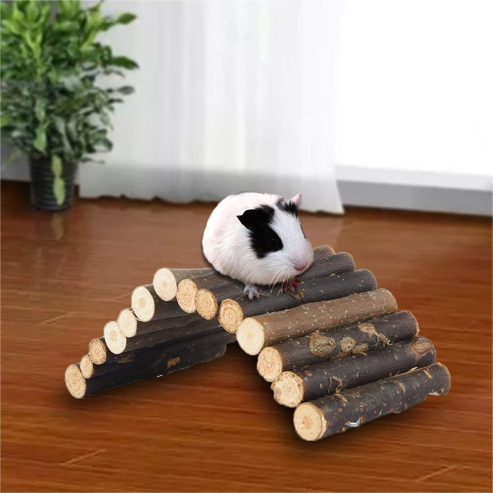 Foerteng Natural Wooden Ladder Bridge Small Animal Toy Hamster Rodents Toy, Small Animal Chew Toy Pet Ladder for Mouse and Dwarf Hamster Mice