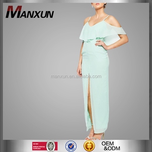 2016 Beautiful Women Elegent Casual Apparel Mint Green Maxi Dress With Split Front