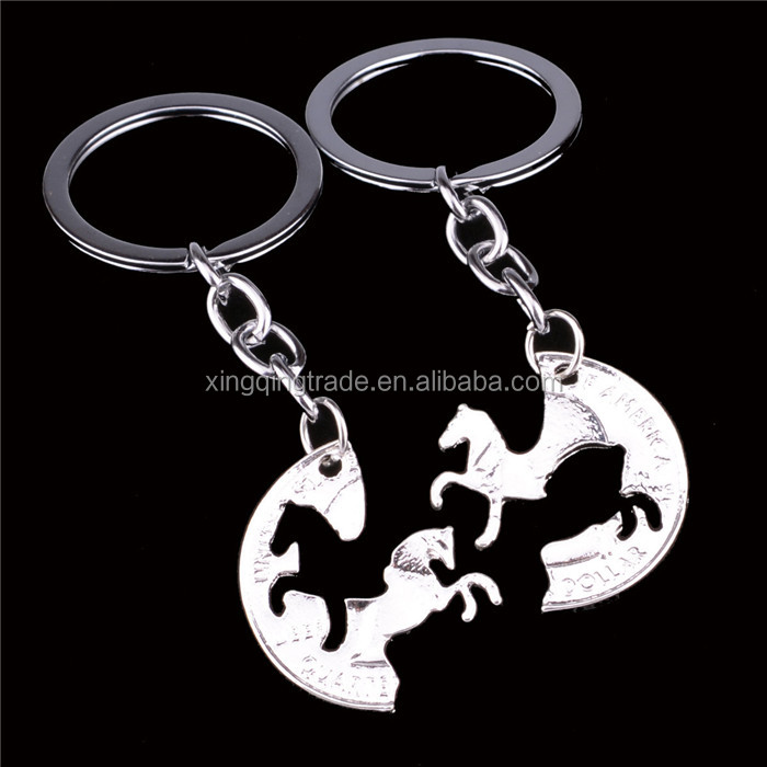 Charm Silver Plated Horse Animal Key Chain Ring Friendship Friends Lovers Couple Keyring