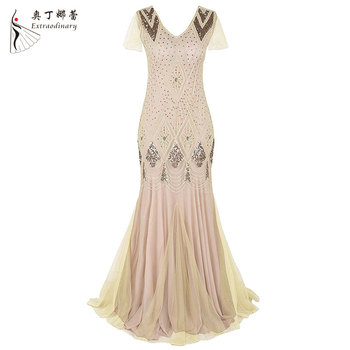 Sequins Evening Dresses Vintage Flapper Party Dress Long Ladies Party Wear Gowns Wedding Bridesmaid Dress