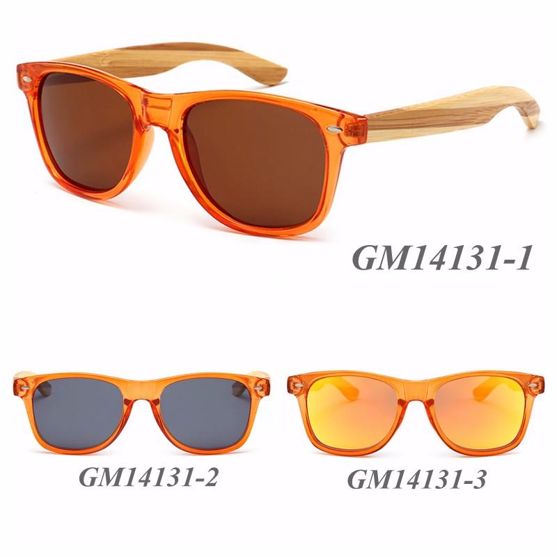 6408c535aa82 Clear Orange Frame Colorful Bamboo Temples Polarized Sunglasses ...