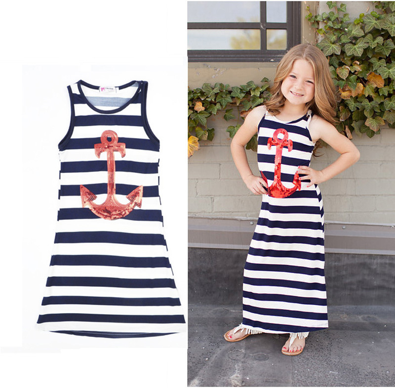 girl dress Stripe Navy wind children dresses Paillette kids dress summer Anchors children clothing vetement enfant