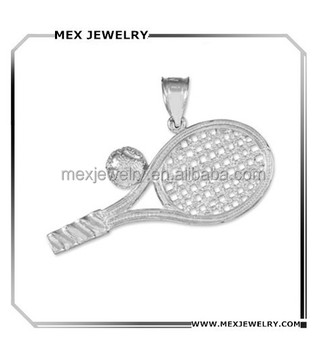 Sport theme Sterling Silver tennis racquet and Ball Charm Pendant