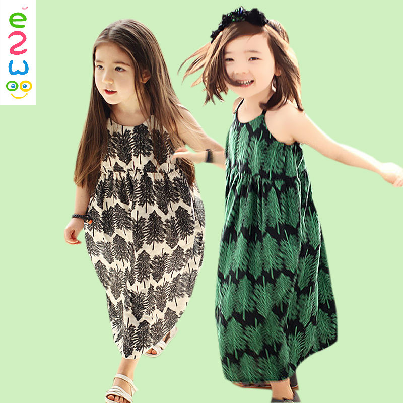 Wholesale Girls Black Feather Print Sleeveless Beach Dress With Cheap Price