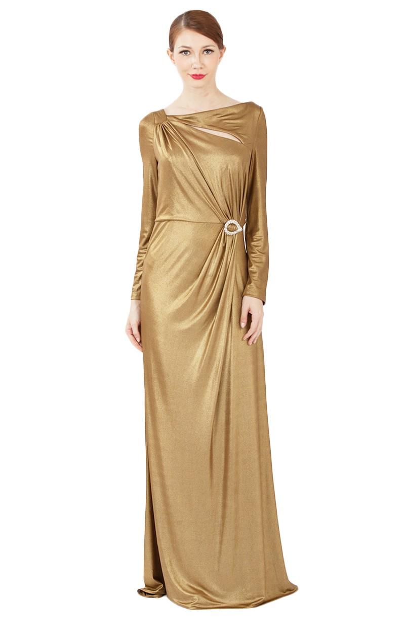 9e1fe7b61ec1b6 Long Slit Yellow Gold Dresses Women Long Sleeve Bodycon Evening Dress