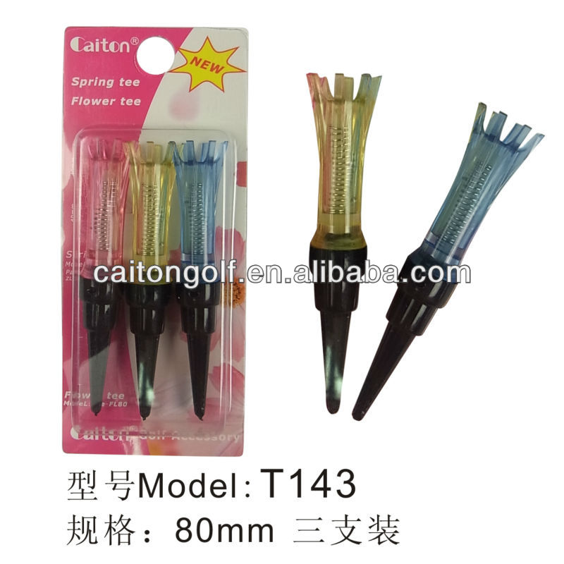 Factory custom colorful 80mm plastic magnetic flower golf tee , golf accessory T143