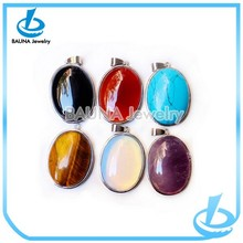 Trending sale big gemstone alloy accessory nature stone pendant necklace