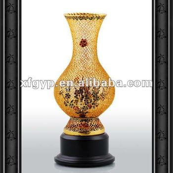Chinese style cloisonne enamel vase craft resin trophy cup