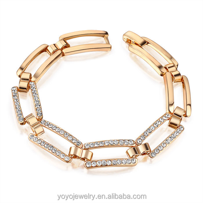 Fashion Luxury Jewelry Make the Deb Link Hinged Cuff 18K Gold Filled Bracelet