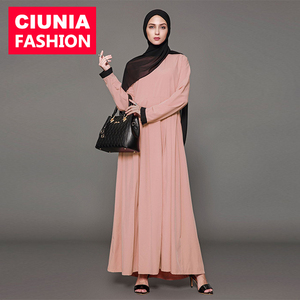 1568#Open before jilbab with lace for women clothes in dubai latest designs abaya 2018 muslim long dress
