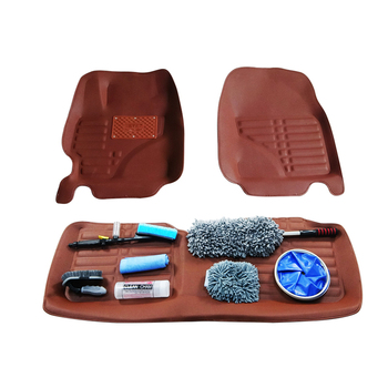 Custom 3d lederen PVC automatten voor toyota met 6 pcs auto cleaning tools kit in doos