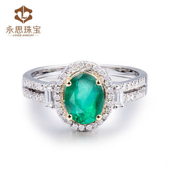 Latest Ring Designs Natural Emerald Oval 6x8mm In Sold 14k Two