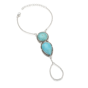 YK Fashion Jewellery Natural Turquoise Stone Finger Hand Chain Ring Bracelet