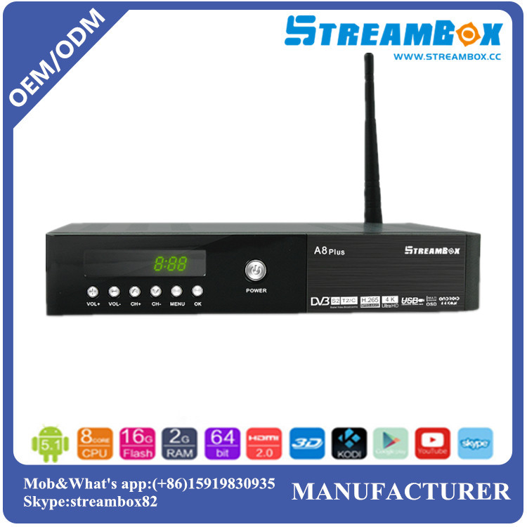 WiFi DVB-T2+S2-C PowerVU CCcam Biss Key Digital HD Combo Android Multi Stream Satellite TV Receiver
