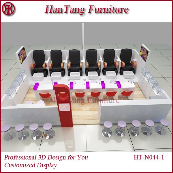 Retail wooden manicure display with luminous painting and led lignt