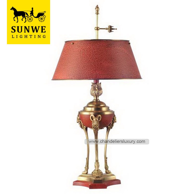 French lighting Traditional Baroque 2 Lights Red Decorative Lampshade Copper under table light