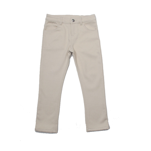 Children boy girls cream color cotton twill trousers kids warm winter brush fleece jogging pants