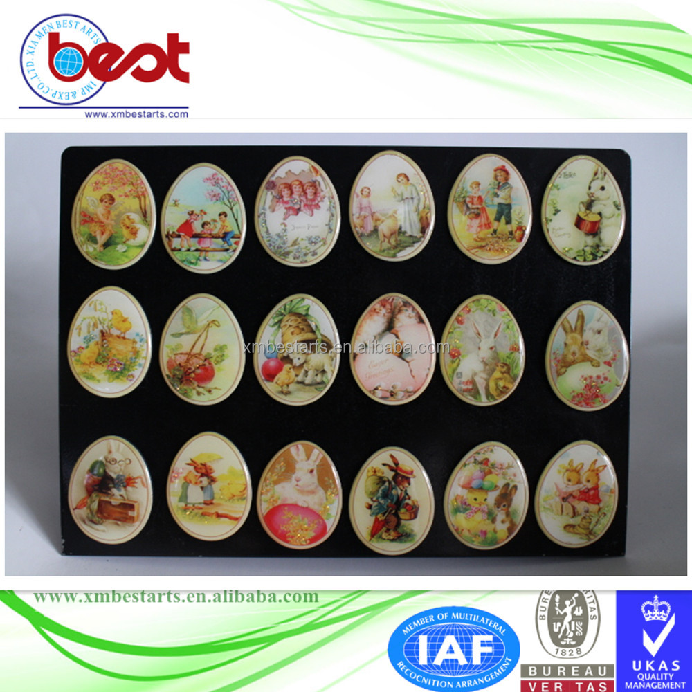 promotional souvenir 3D custom epoxy holiday gift Easter egg shape fridge magnet with rabbits and eggs
