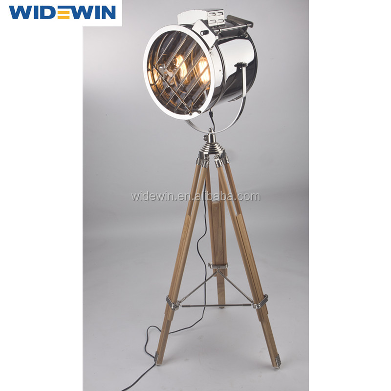 Lobby Decor Modern Tripod Wooden Floor Lamp for Room Decoration
