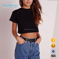 MGOO Custom Made OEM Basic Black Women Summerwear Short Sleeves Young Girls Cotton Spandex Women Crop Tops