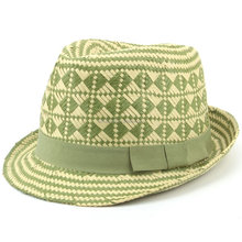 Men Women Straw Trilby Paper Check Black Blue or Green 3 sizes Summer Fedora Hat