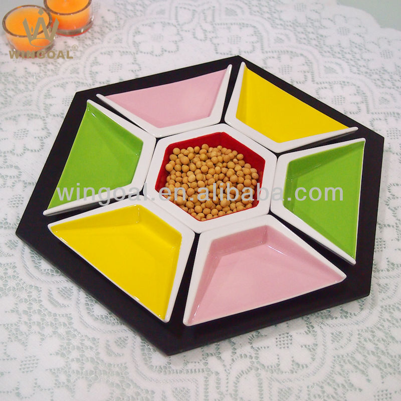 Ceramic service dish snack dish with MDF plate stand
