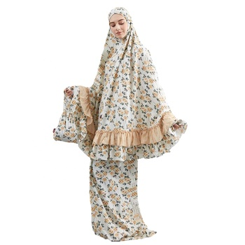 China manufacture free size floral printed kaftan islamic prayer dress dubai prayer