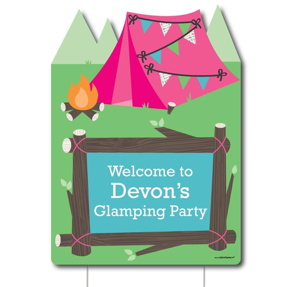 Big Dot of Happiness Personalized Let's Go Glamping - Party Decorations - Custom Camp Glamp Party or Birthday Party Welcome Yard Sign
