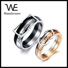 Multicolor Average Separate With Square Heart Loop Polishing Couple Ring 2017 Hot Sell
