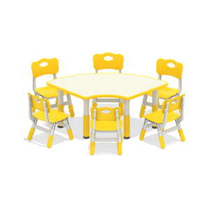Kindergarten Candy Colors Study Table Kids,Fan-Shaped Table For Kids,Assemble Round Kids Study Table And Chair