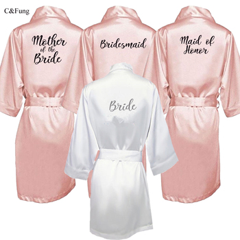 College Student Fashion Sleepwear Custom Women Bride Party Satin Robe Women