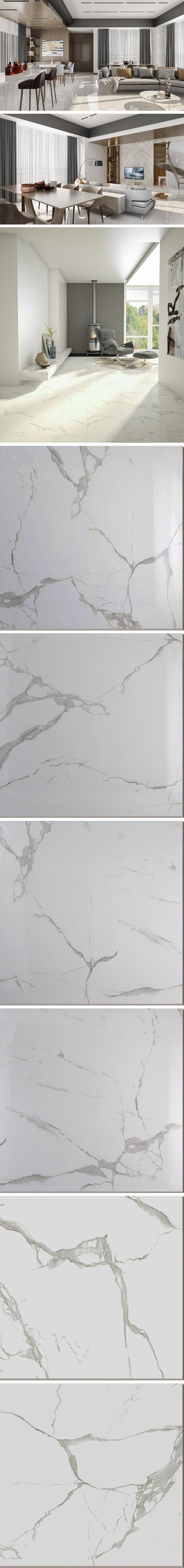 Gepolijst porselein wit marmer woonkamer muur uni luxe floor carrara marmeren tegel