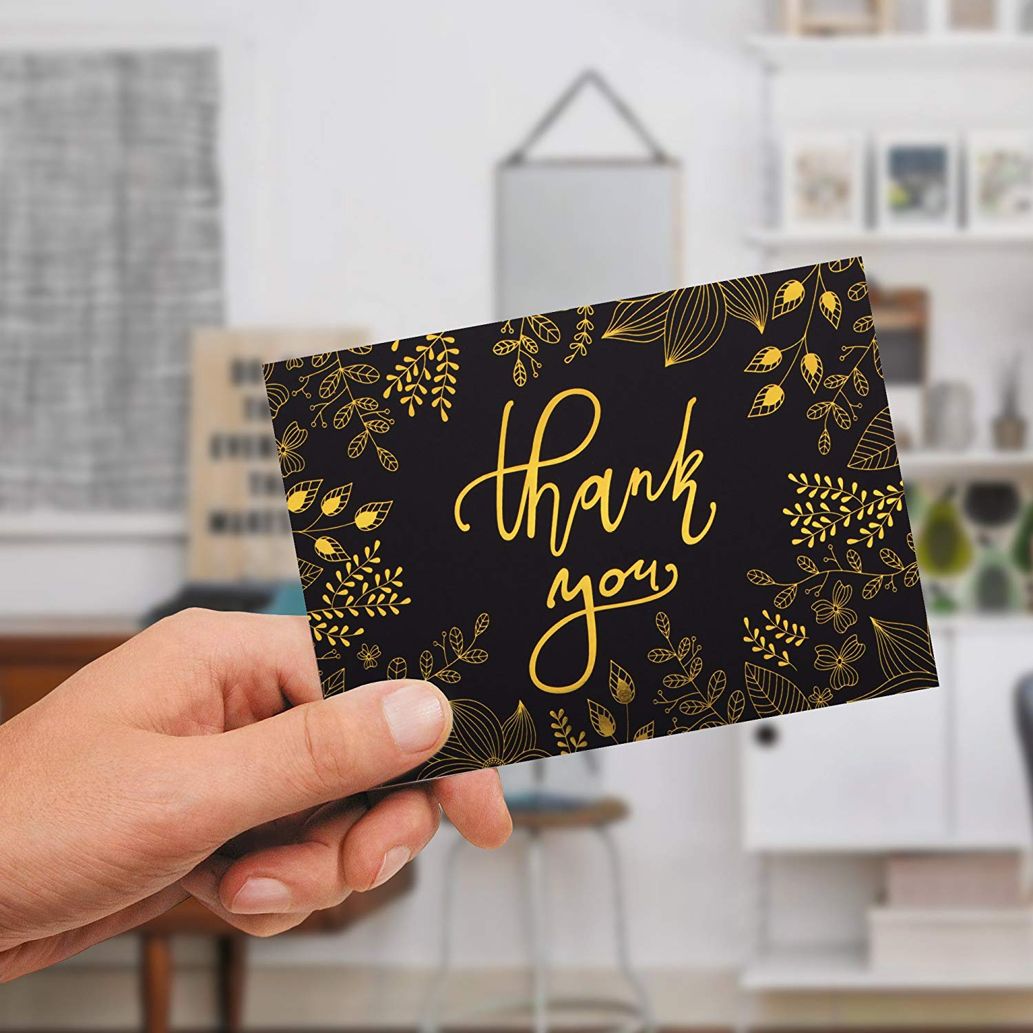 New Products 36pcs 48pcs Gold Foil Thank You Card