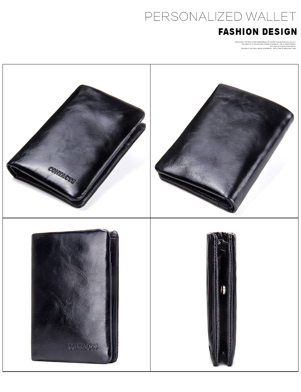 China Wholesale Black Vintage Leather Men Money Bifold Wallet