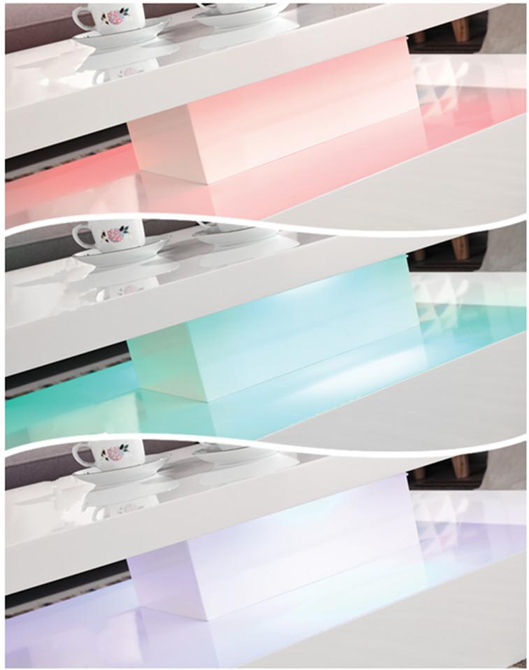 Placa de melamina de madera mesa de café blanca con luz LED SK-088