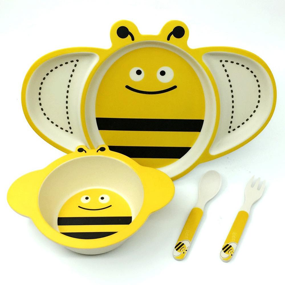 Biodegradable kids dinner ware set melamine bamboo fiber bowl set BPA free
