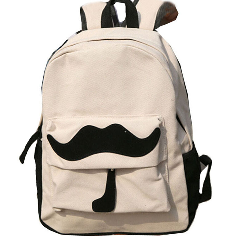 7e2f305e69 Get Quotations · Hot Fresh Style Canvas Backpack Fashion Moustache School  Satchel Bag Travel Pack Bicycle Cycling Rucksack bolsas