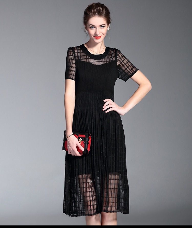 Pretty Two Pieces Mature Woman Black Dress With Short Sleeve Buy