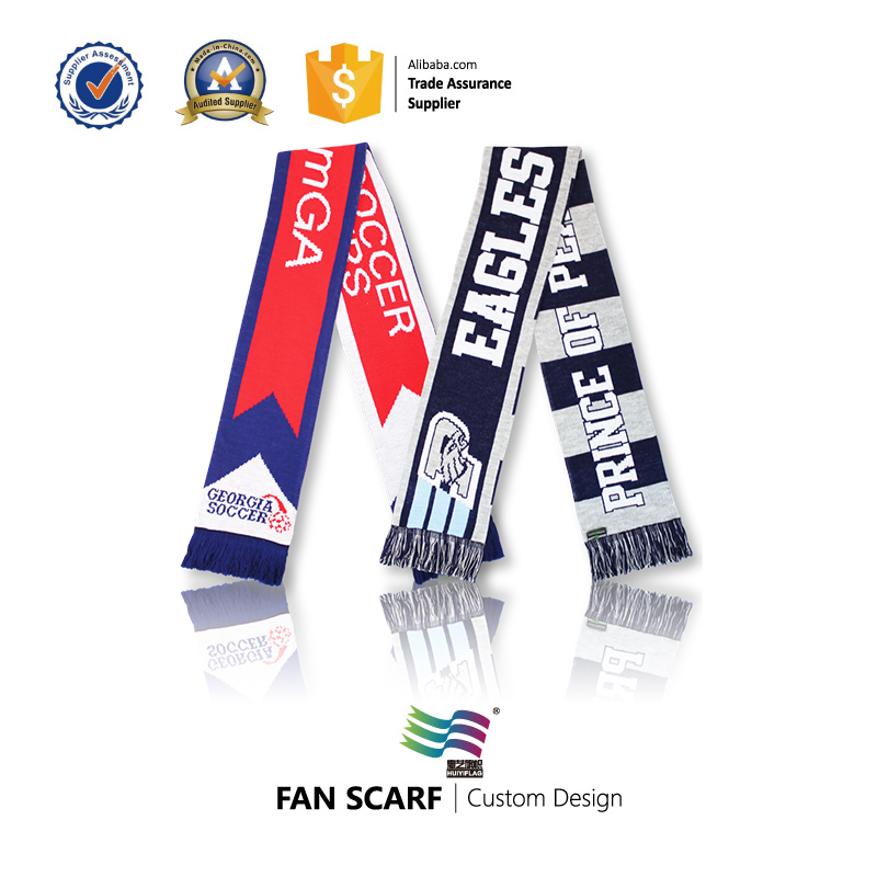 factory supply knitted football acrylic scarf