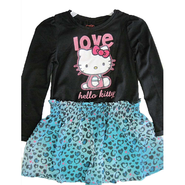 b1eb2fad7 Get Quotations · Hello Kitty Little Girls Black Blue Leopard Spot Applique Dress  4-6X