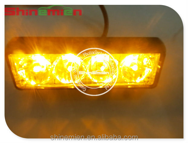 Amber 4 LED Grill Strobe Flashing Recovery Lightbar Beacon Lights 12/24V Truck Van