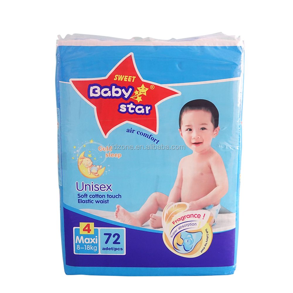 Sweet baby star Cloth-Like Back Sheet High Absorption OEM disposable Baby Diapers
