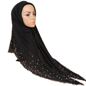 Hot Selling Muslim Cotton Square Solid Color Diamond Stone Women Middle East Scarf Hijab