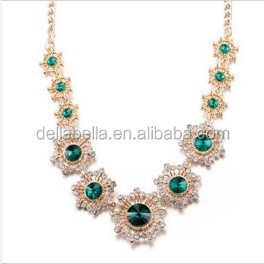 Royal emerald necklace in woman's jewelly