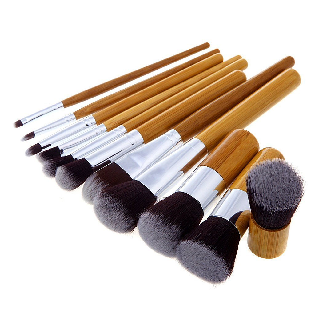 Makeup Brush Set,Saebye Professional 11 Pcs Sets Bamboo Handle Makeup Brush Concealer Brushes Foundation Brusher Cosmetic Powder Tools With Bag and 1 Pcs Oblique Head Makeup Brush Kit