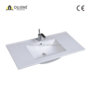 Home depot CE 90cm counter top china rectangle shape vanity bathroom cabinet basin / ceramic kitchen sink