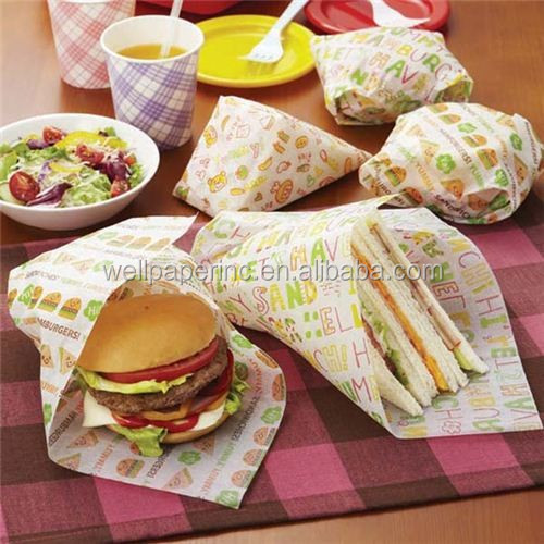 Interfolded Greaseproof burger food wax coated wrapping deli wrap paper