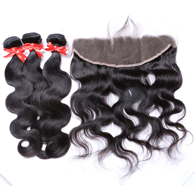 7A 13 X 4 Lace Frontal with Peruvian Body Wave Virgin Hair 4 Bundles with Frontal