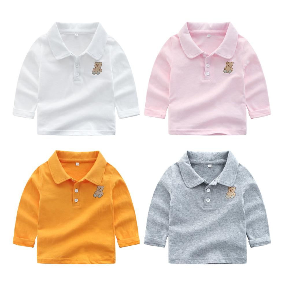 Polo Shirts Kids Clothes Tops Solid Color Turn-down Collar Long Sleeve Polo Baby Boy Bear Embroidered Boys Polo Shirts фото