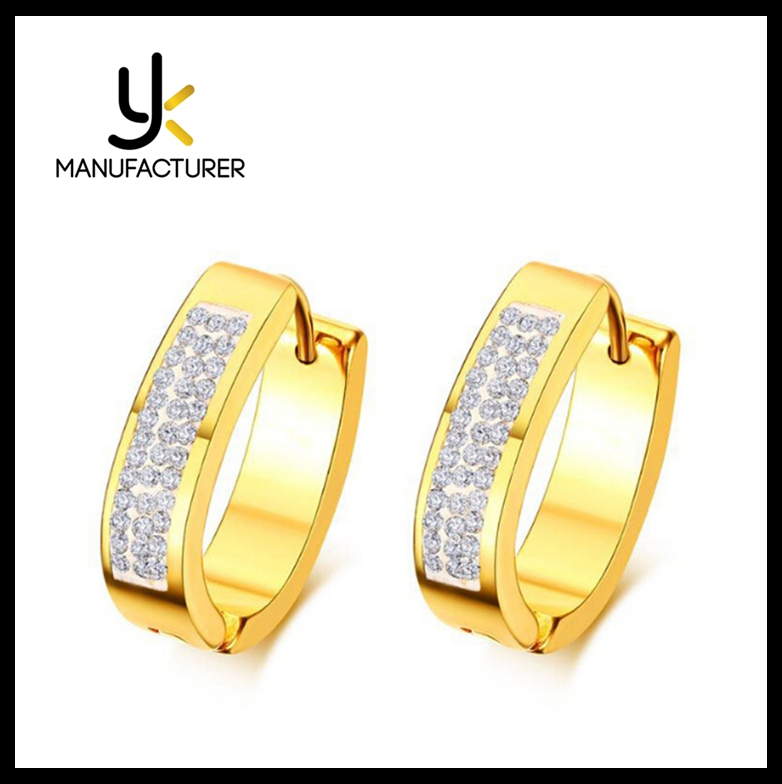 YK Brand Jewelry 14K Real Gold Plated Stainless Steel Earrings Wholesale